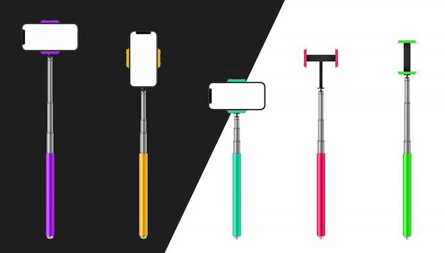 Monopod selfie stick met telefoon, smartphone.