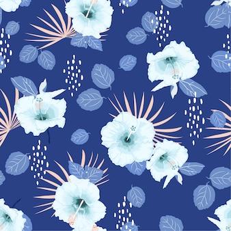 Monotone blauw naadloos vectorhibiscus exotisch bloemenpatroon,