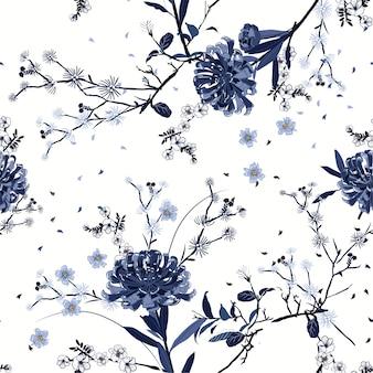 Monotone blauwe naadloze patroon vector