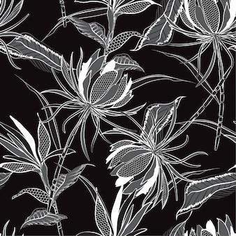 Monotone zwart en wit vector naadloze patroon van bloemen
