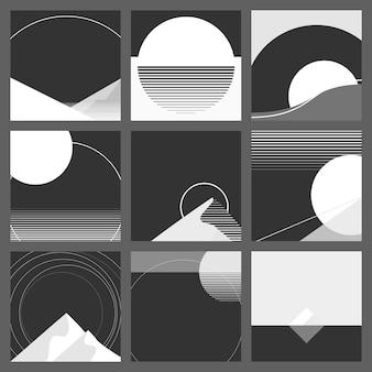 Monotone zwart-wit geometrische landschap achtergrond set