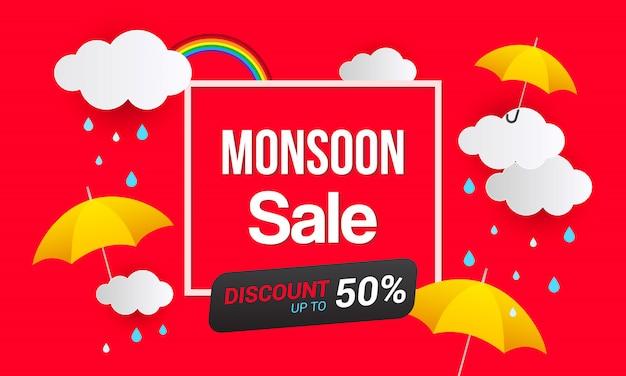 Monsoon-verkoop bannersjabloon
