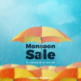 Monsoon-verkoopsamenstelling met realistisch ontwerp