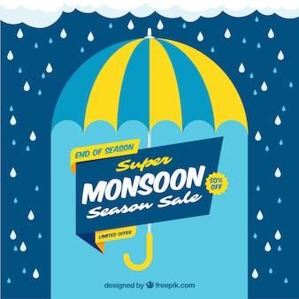 Monsoon-verkoopsamenstelling met vlak ontwerp