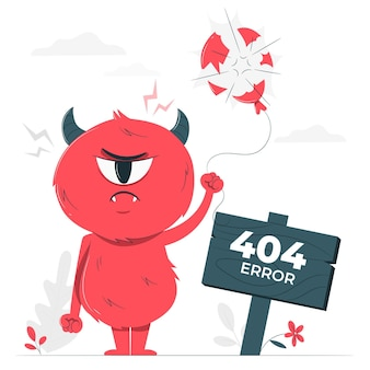 Monster 404 fout concept illustratie