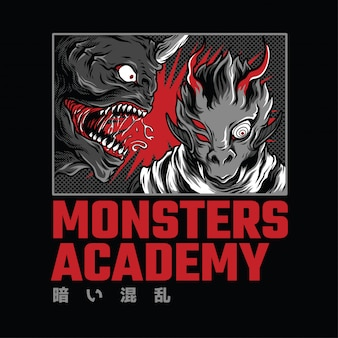 Monster academy neon illustratie
