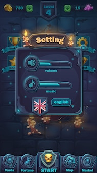 Monster battle gui setting volume window - cartoon illustration game user interface - background verschrikkelijke halloween-muur