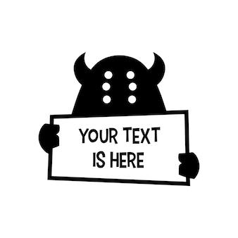 Monster bedrijf papier tekst teken logo vector pictogram illustratie