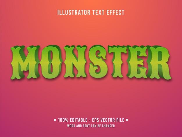 Monster bewerkbaar teksteffect moderne stijl met groene kleurverloop