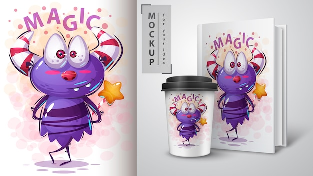 Monster cartoon karakter illustratie en merchandising