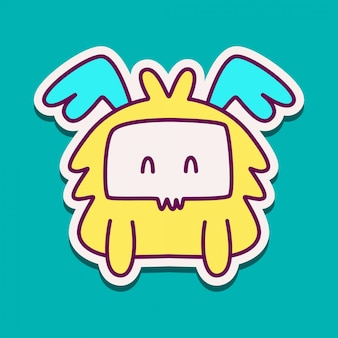 Monster cartoon sticker doodle ontwerpsjabloon