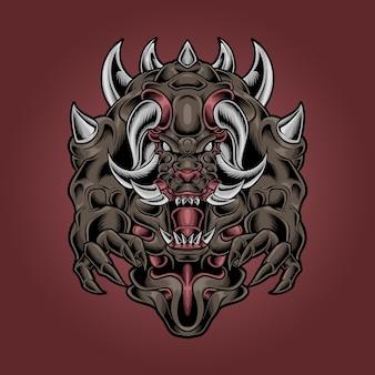 Monster duivel fang en gehoornde illustratie