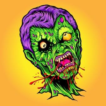 Monster eet blood horror halloween vectorillustraties voor uw werk logo, mascotte merchandise t-shirt, stickers en labelontwerpen, poster, wenskaarten reclame bedrijf of merken.