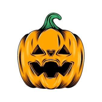 Monster gele pompoen met de driehoekige gatenogen voor de decoratie van halloween