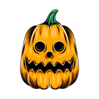 Monster gele pompoen met de ronde gatenogen en voor de halloween-inspiratie