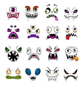 Monster gezicht grappige emoticons cartoon. horrorgezichten van halloween-zombie, demon of geest, duivel, vampier of beest met verschillende emoties, enge avatars met open mond en boze ogen