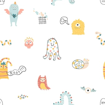 Monster halloween naadloos patroon met belettering leuke stripfiguren in scandinavische stijl