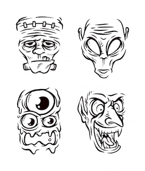 Monster hoofd collectie lijn illustratie