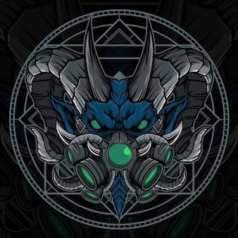 Monster hoofd mascotte illustratie