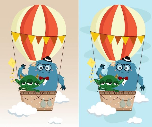 Monster in luchtballon