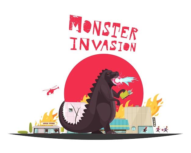 Monster invasie aanval scène met grappige draak instelling winkels in vuur en vlam helikopter en lopende mensen plat