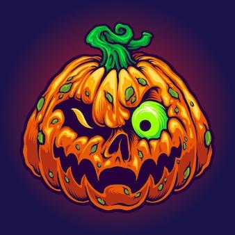 Monster jack o lantern griezelige pompoenen halloween vectorillustraties Premium Vector