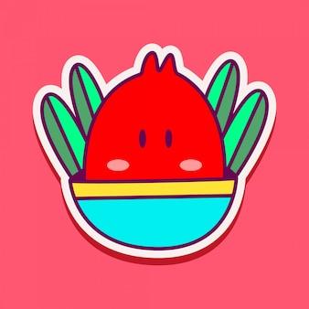 Monster karakter doodle sticker illustratie