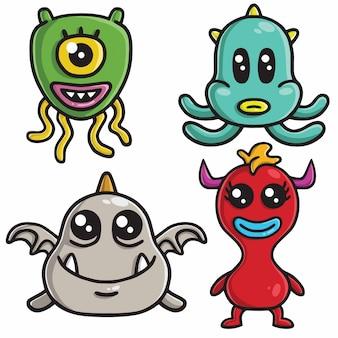 Monster karakter ontwerp vector cartoon set