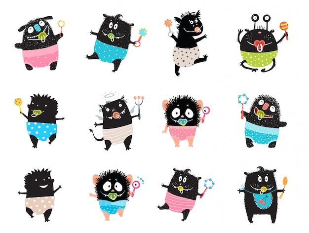 Monster kid character bundle doodle black monsters