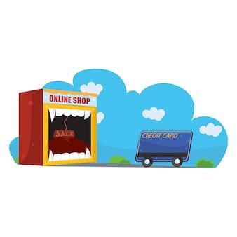 Monster online winkel die creditcards verslindt