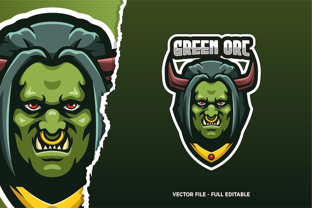 Monster orc e-sport game logo sjabloon