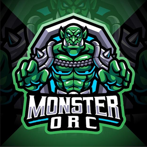 Monster orc esport mascotte logo ontwerp