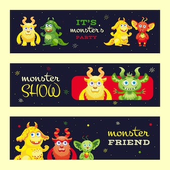 Monster show banners ontwerp voor evenement. moderne promotiefolder met grappige beestkarakters. viering en monster partij concept. sjabloon voor poster, promotie of webdesign