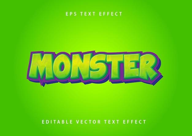 Monster-teksteffect in groene en paarse kleur