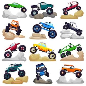 Monster truck vector cartoon voertuig of auto en extreme transport kruipen in rotsen