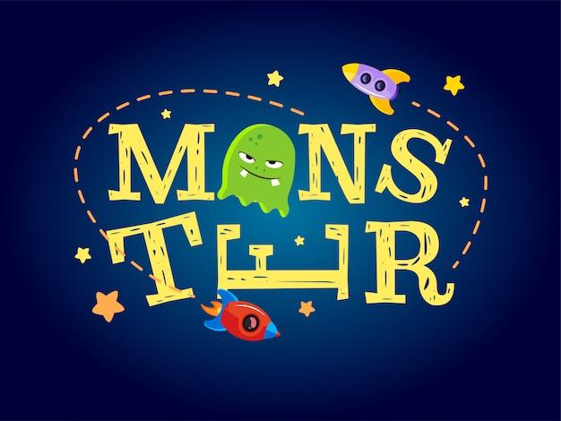 Monster typografie ontwerp. t-shirt graphics voor kinderen