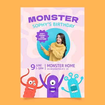 Monster verjaardag uitnodiging sjabloon met foto