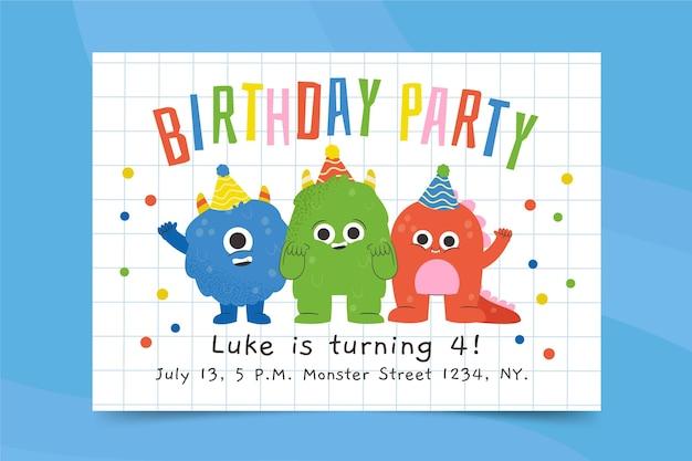 Monster verjaardag uitnodiging sjabloon