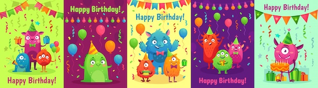 Monster verjaardag wenskaart. monsters met gelukkige verjaardagscadeaus, uitnodiging voor kinderfeestje en vriendelijke monster cartoon set
