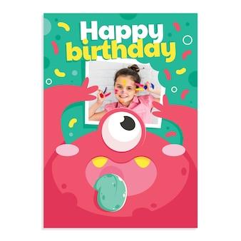 Monster verjaardagsuitnodiging met foto