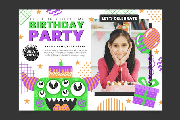 Monster verjaardagsuitnodiging sjabloon met foto