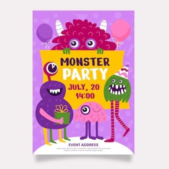 Monster verjaardagsuitnodiging sjabloon