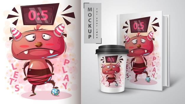 Monster voetballen illustratie en merchandising