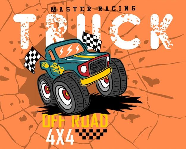 Monster vrachtwagen cartoon op gebarsten gat achtergrond