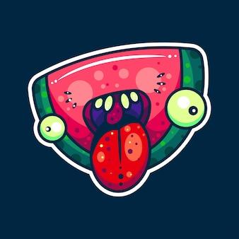 Monster watermeloen voor karakter, pictogram, sticker en illustratie
