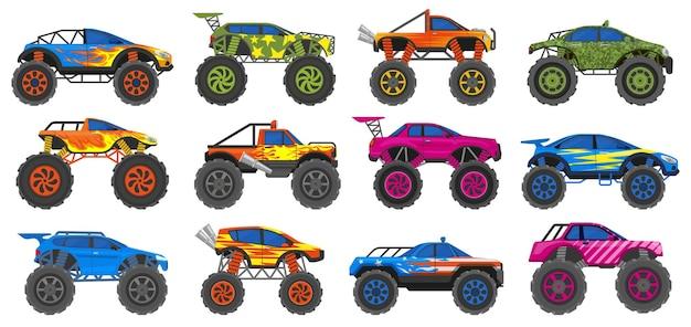 Monster zware vrachtwagens, extreme race auto's met grote wielen. extreme show zware auto's, grote wielen voertuigen vector illustratie set. monstertrucks transport
