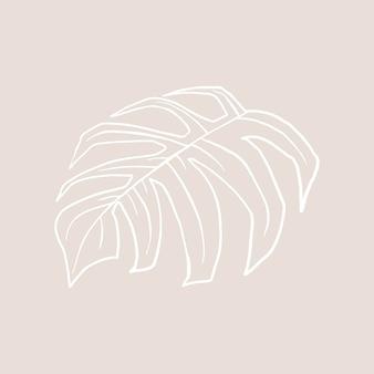 Monstera blad vector doodle botanische illustratie