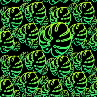 Monstera bladeren naadloze patroon achtergrond