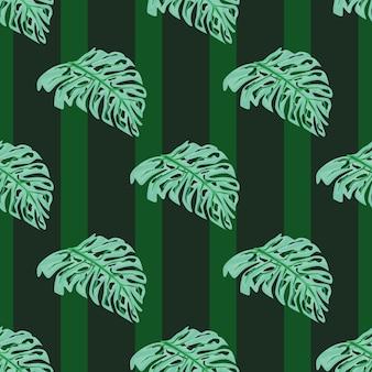 Monstera decoratief naadloos patroon met blauwe heldere bladerendruk. groene gestreepte achtergrond. vectorillustratie voor seizoensgebonden textielprints, stof, banners, achtergronden en wallpapers.