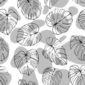 Monstera deliciosa blad met abstracte vorm naadloze patroon